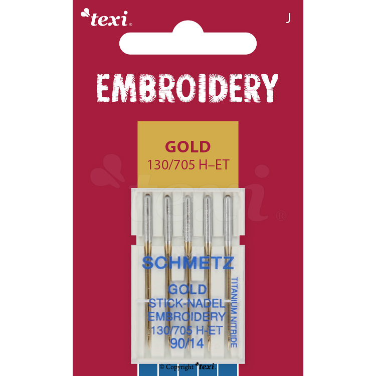 TEXI EMBROIDERY GOLD Sticknadeln 130/705 H-E, 5 Stk., 5x90