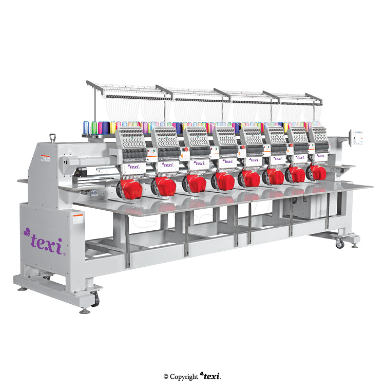 Industrial, eight-head, twelve-needle embroidery machine with an enlarged field of work